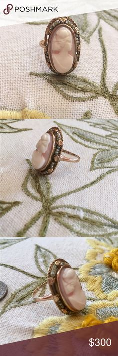 Antique Cameo Ring with Tiny Pearls Authentic Antique Victorian Oval Cameo Ring. Yellow Gold Band. Tiny Pearls surround the Cameo. Cameo itself is Pale Pink and Ivory. Made turn of Century 1900s by my Great Uncle who was a jeweler. Inherited Piece. One side is missing a few Pearls as noted in Pic. That's why it is Discounted in Price. REASONABLE OFFER ONLY! Like most Authentic Antiques- it is a One of a Kind! Fits about a size 8. Jewelry Rings