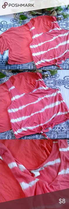 Crop top bundle Two super cute crop tops!  Striped tie dye forever 21 crop top tank with  tie in the front tag reads size large would look good on a Xs to a large. Unknown brand coral colored t shirt crop top with an open back tag reads size small would look good on a Xs to a large Tops Crop Tops