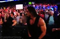 Ambrose's kiss to Rollins - mwah  gif