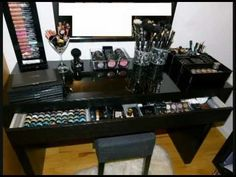 Ikea Malm Vanity Makeup Table – Organization – Storage - make up room studio Ikea Malm Series, Ikea Malm Desk, Makeup Dresser, Ikea Makeup, Makeup Desk, Makeup Vanities, Dresser Mirror, Makeup Tips, Make Up Tisch