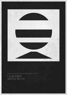 'Six Architects' posters by Andrea Gallo,Louis Kahn / © Andrea Gallo Louis Kahn, Graphic Design Inspiration, Graphic Design Art, Walter Gropius, Mise En Page Portfolio, Architecture Classique, Inspiration Artistique, Minimalist Architecture, Modern Architecture