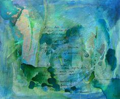 Frühling lässt sein blaues Band..., Acryl auf Leinwandkarton, alte deutsche Schrift, Gold gesprüht