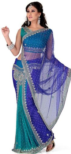 $163.65 Blue and Green Net Lehenga Style Saree 24929