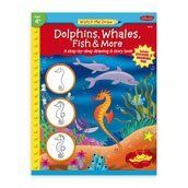 Watch Me Draw:Dolphins,Whales by Teacher Created Resources. $4.95. From Walter Foster this book shows kids as young as four how to start drawing on their own.  It includes a story that will inspire kids to illustrate the characters.  A flip-down pad is preprinted with 11 unfinished drawings for the child to complete. Special reward stickers are included.