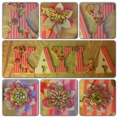 Name plate with floral embellishments. Cute design to go over your child's crib.
