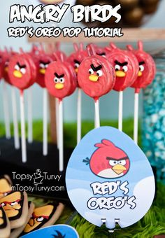 an easy angry birds cake pops tutorial for easy birthday party food. you can use this tutorial to make any of the other angry birds in cake pop form too. Angry Birds Party, Torta Angry Birds, Cumpleaños Angry Birds, Red Angry Bird, Bird Party, Angry Birds Birthday Cake, Bird Birthday Parties, Boy Birthday, Birthday Ideas