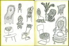 Saul Steinberg's chair drawings, from The Art of Living, 1945