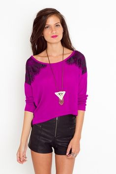 love the color..and omg lace shoulders