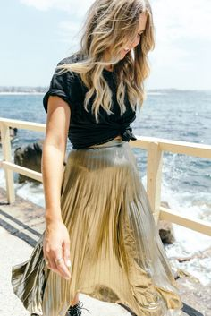 Gold midi skirt, black tee, knotted tee shirt | TheyAllHateUs