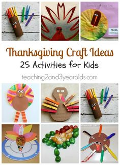 25 Thanksgiving Craft Ideas for Kids from Teaching 2 and 3 Year Olds