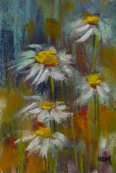 Demo Monday ...Painting Daisies in Pastel, original painting by artist Karen Margulis | DailyPainters.com