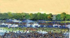"""""""El angulo sangriento"""", Spotsylvania, 12 de mayo de 1864. Artista Richard Schlecht.  Justo antes de las 18:00 horas del 10 de mayo de 1864, 5.000 soldados de la Unión encabezados por el coronel Emory Upton - formados en masas profundas en lugar de las tradicionales líneas de batalla - surgieron de los bosques cargando a través de este campo. Llegaron a la principal línea confederada aquí."""