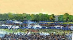 """1864 - """"El angulo sangriento"""", Spotsylvania, 12 de mayo de 1864. Artista Richard Schlecht."""
