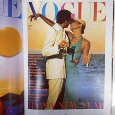 Manolo Blahnik with Anjelica Huston. UK Vogue 1974. www.vogue.com.au