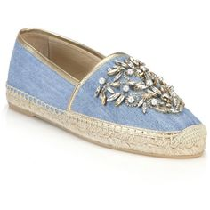 Rene Caovilla Jeweled Chambray Espadrille Flats ($1,170) ❤ liked on Polyvore featuring shoes, flats, apparel & accessories, denim, flat pumps, flat slip on shoes, slip-on shoes, metallic cap toe flats and sparkly flats