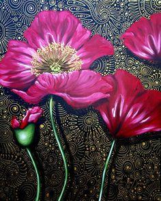 """Saatchi Art Artist Cherie Roe Dirksen; Painting, """"Red Poppies"""" #art"""