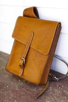 Men's over the shoulder leather satchel