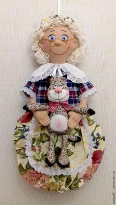 Купить Пакетница бабушка и супер-кот - разноцветный, кукла пакетница, пакетница, подарок женщине