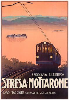 1920 Lake Maggiore Electric Railway Stresa-Mottarone, Italy vintage travel poster