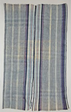 British Museum Af1843,0311.50 - Yoruba wrapper cloth, cotton with magenta silk, collected at Eggan in 1841.