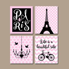 PARIS Wall Art, CANVAS or Prints Eiffel Tower Artwork, Pink Black Girl Nursery Wall Art, Girl Bedroom Pictures, Set of 4 Chandelier Bicycle