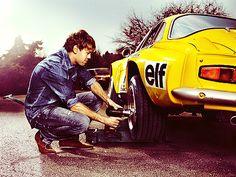F1 Champion Sebastian Vettel and Renault Alpine A110. Via @IEDEI