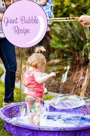 DIY Giant Bubble Recipe - Fun idea for a spongebob party! Bubble Bash, Bubble Guppies Birthday, Bubble Mix, Bubble Maker, Bubble Birthday Parties, Baby Birthday, Birthday Ideas, Summer Birthday, Giant Bubble Recipe