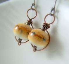 Wire Wrapped Dangle Earrings  Mixed Metal  by WillowCreekJewelry