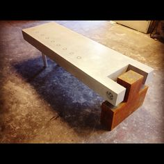 Metal + concrete coffee table with aluminum bolt joint