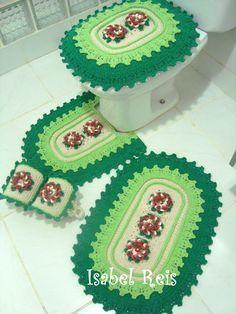 Jogo de banheiro de crochê + brinde   Arte em Linhas - Crochê e Tricô   Elo7