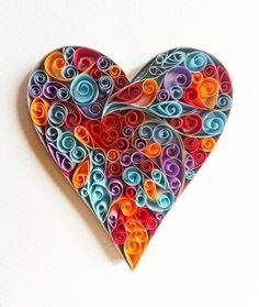 Love Heart Handcrafted Quilling by QuillingbyCourtney on Etsy #quillingbycourtney #handcrafted #paperquilling
