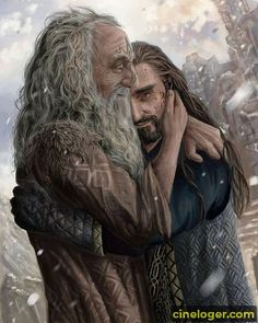 - I painted Thorin from The Hobbit as a commission She wanted me to paint Thorin hugging his father Thra. Thorin and Thrain Commission Le Hobbit Thorin, Hobbit Art, Gandalf, Thranduil, Legolas, Kili, Aragorn, Cartoon Movie Characters, Fictional Characters