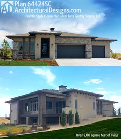 Architectural Designs House Plan 64424SC. Prairie style for the gentle sloping lot. Ready when you are. Where do YOU want to build?