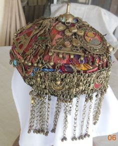 Fabulous antique ceremonial hat from Central Asia jewelry Kelim 7 x  5 inches
