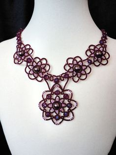 Beaded necklace tatted in burgundy by yarnplayer on Etsy, $98.00