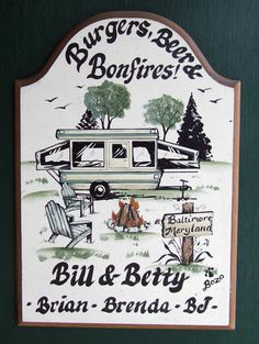 Pop Up Camper Camping Campsite Welcome SIGN by WhisperwoodStudio, $32.00