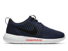 Chaussures Homme Nike Roshe Two Flyknit Prix Pas Cher Bleu/Noir/Blanc-844833_400…