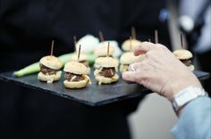 i think we're going with a cold cocktail hour but who doesn't love a slider?  Mini Burgers as canapes