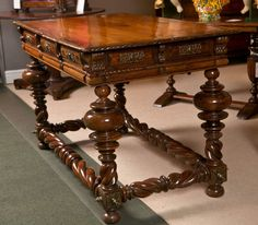 A Late 17th Early 18th Century Portuguese Baroque Brass Mounted Rosewood Library Table 5