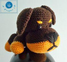 Little Rottie amigurumi, crochet dog free pattern, crochet puppy, crochet Rottweiler pattern, crochet Rottie pattern