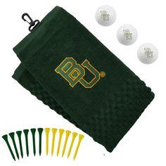 -Baylor Bears Embroidered Golf Towel, Golf Balls & Tees Gift Set - Green $29.95