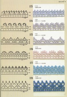 Pattern diagram for pretty crochet edging. Neat idea for dish-cloths, tea-towels, coasters and + Crochet Free Edging Patterns You Should KnowCrochet Beautiful Boarderscould Be PutAdd Borders to your blankets and afghans!Crochet Symbols a Crochet Boarders, Crochet Edging Patterns, Crochet Lace Edging, Crochet Diy, Crochet Diagram, Crochet Chart, Thread Crochet, Crochet Edgings, Crochet Pillow