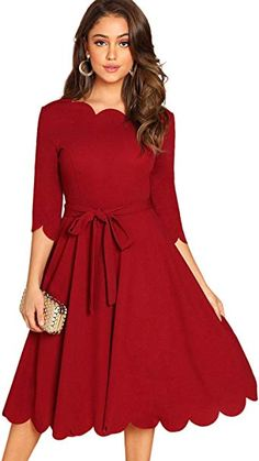 online shopping for Milumia Women's Sleeve Belted Knee Length Fit & Flare Scallop Party Dress from top store. See new offer for Milumia Women's Sleeve Belted Knee Length Fit & Flare Scallop Party Dress Vintage Christmas Dress, Party Dresses Online, Dress Online, Holiday Dresses, Casual Dresses, Dresses For Work, Scalloped Dress, Christmas Fashion, Colourful Outfits