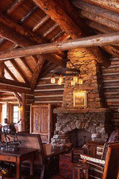 Cabin like lounge room- West Fork Camp, Pearson Design Group Log Cabin Living, Log Cabin Homes, Log Cabins, Timber Frame Homes, Timber House, Little Log Cabin, Cabin Kitchens, Lodge Style, Cabin Interiors