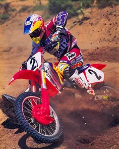 @dirtridermagpouring the coals to Honda's absurdly colorful CR250R for 1995 - Donnie Bales Photo#OhSoNinieties#ThatAXOGear#90smotocross