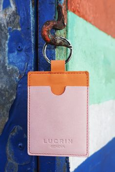 Presented in the Rainbow collection, this small accessory brings about a special touch of freshness besides doing the functional part of holing your keys and credit card. Leather Key Case, Leather Bags, Keys, Initials, Card Holder, Bring It On, Rainbow, Touch, Personalized Items