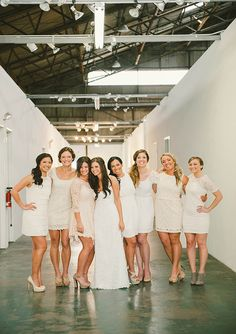 Cream and ivory bridesmaid dresses