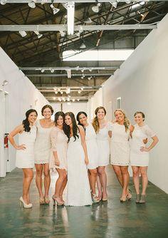 Cream and ivory bridesmaid dresses | Photos by Emily Blake | 100 Layer Cake