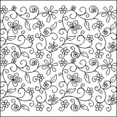 2529 Think Spring Floral Embroidery Patterns, Hand Embroidery Patterns, Textile Patterns, Quilt Patterns, Doodle Patterns, Longarm Quilting, Machine Quilting, Teal Quilt, Embroidered Cushions