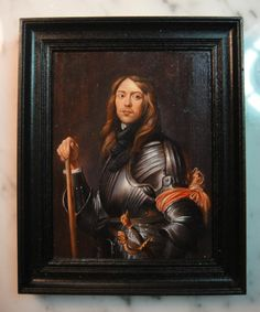 IGMA Artist Johannes Landman's Oil Painting Portrait with a Man in Armor  Signed